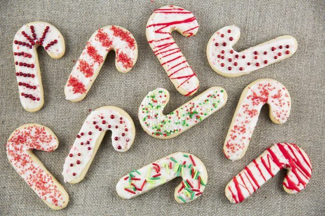 Candy cane-shaped sugar cookies