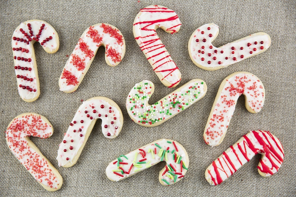 Candy cane shaped sugar cookies