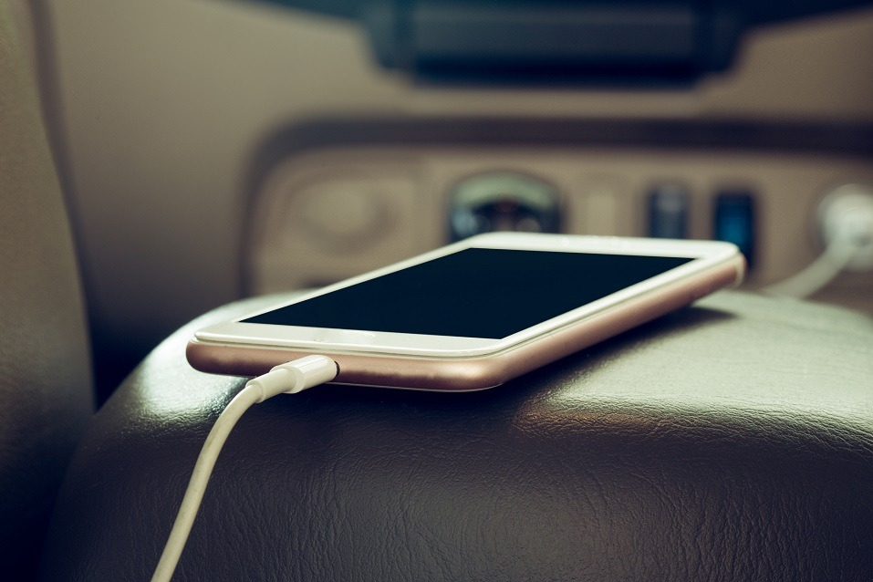 Phone charging in a car
