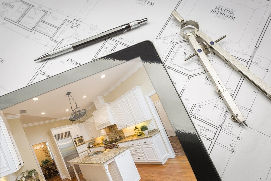 Computer tablet showing finished kitchen