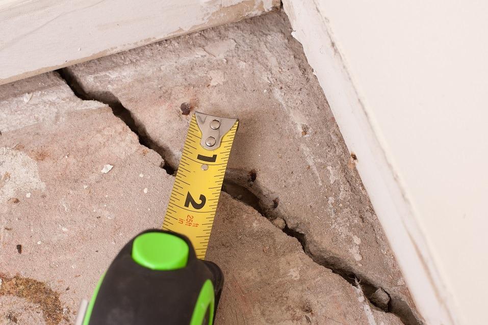 large deep crack in concrete foundation