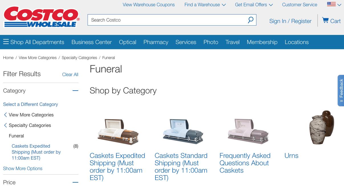 Costco caskets