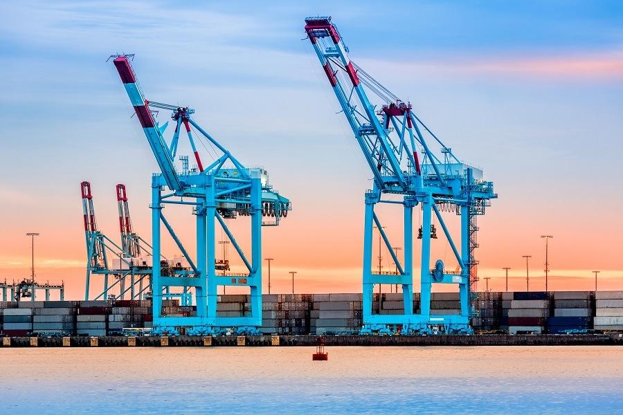 cranes in the Newark-Elizabeth marine terminal