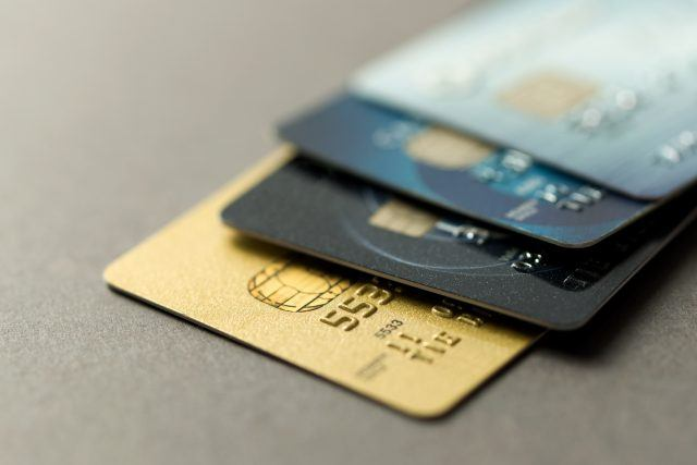 credit cards over grey background