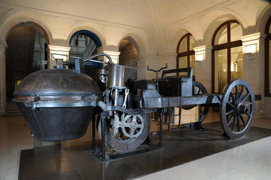 A 1796 Cugnot Fardier, the oldest truck in car history, on display.
