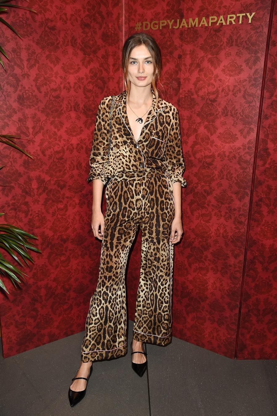 Model Andreea Diaconu attends the Dolce & Gabbana pyjama party