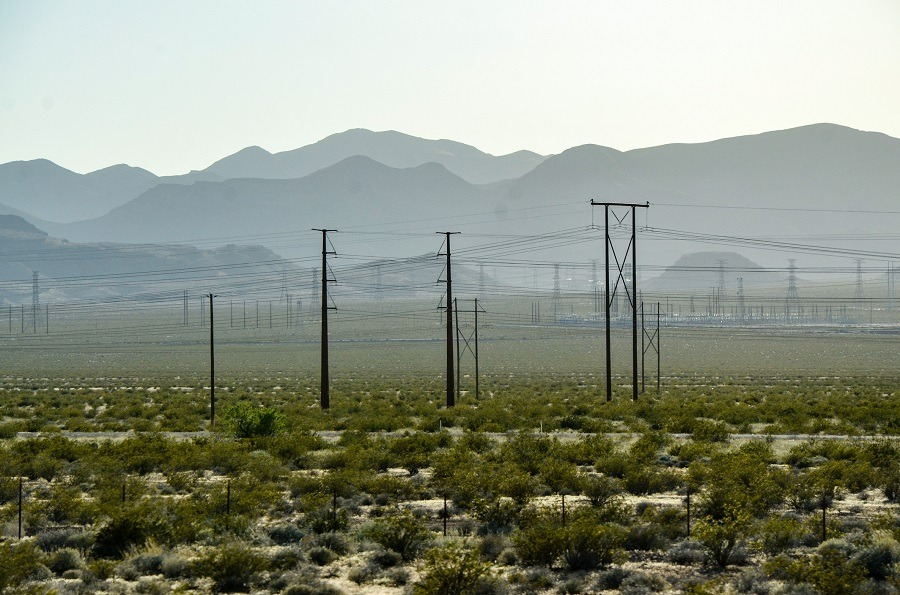 The electricity poles on green shrubs with mountain backdrop in desert area