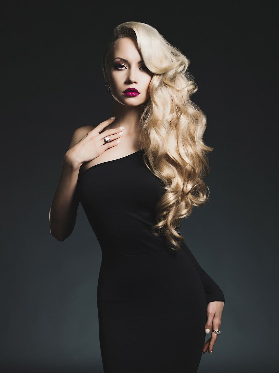 elegant blonde on black background