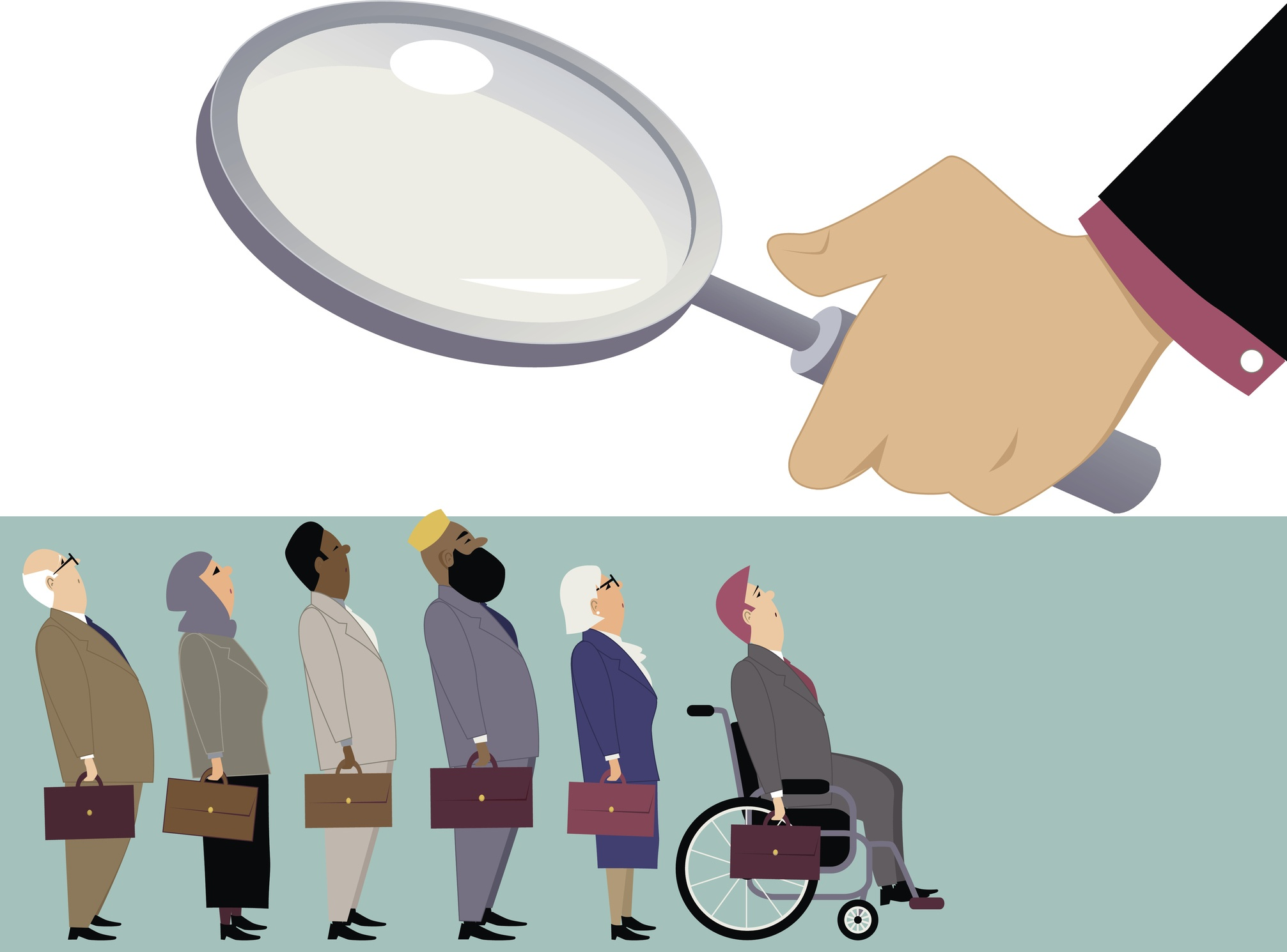 Line of diverse candidates standing under a magnifying glass of a hiring manage