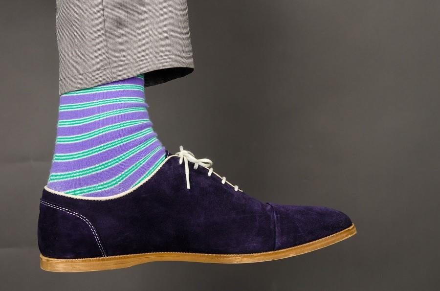 man wearing fancy socks