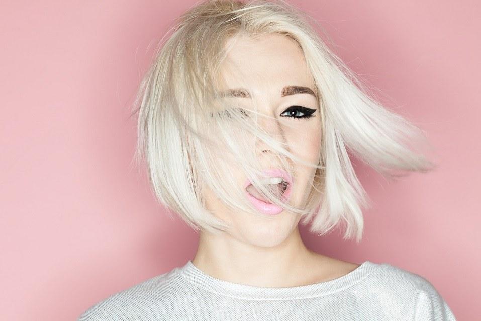 fashion blonde with stylish short hairstyle