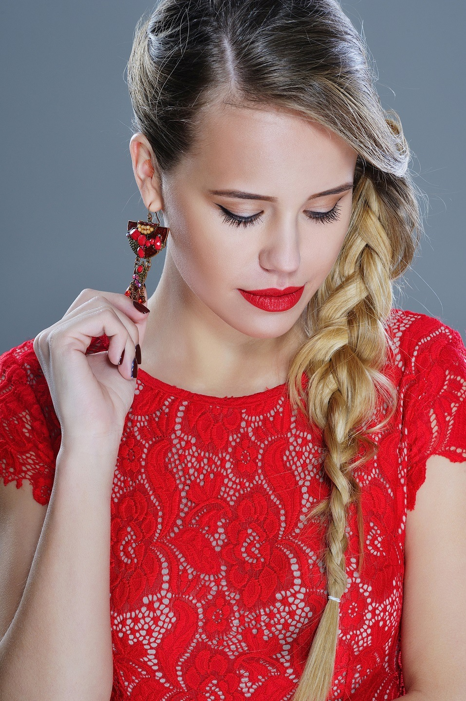 Fashion woman closeup portrait with red lipstick
