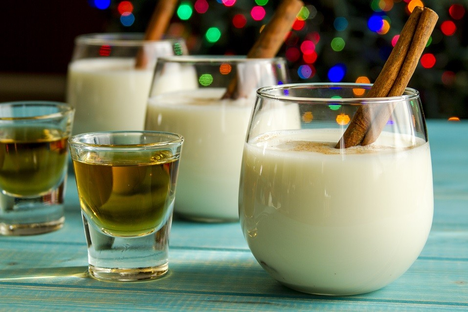 small glasses filled with homemade eggnog