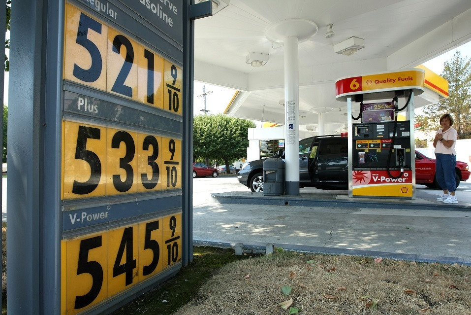 Gasoline prices over $5.00 per gallon are displayed at a Shell station