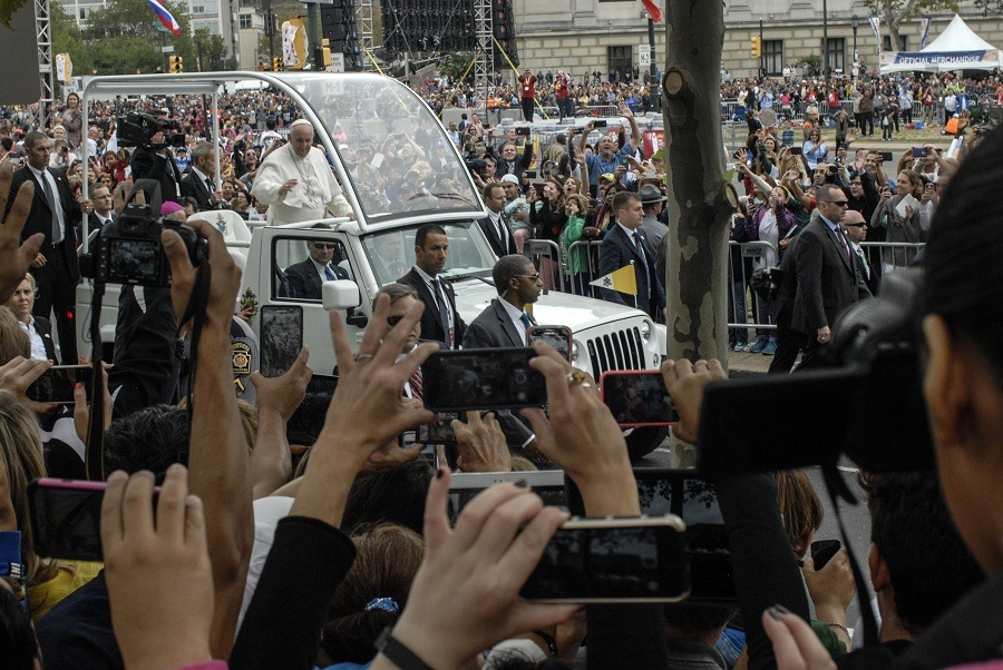 Pope Francis arriving for Mass