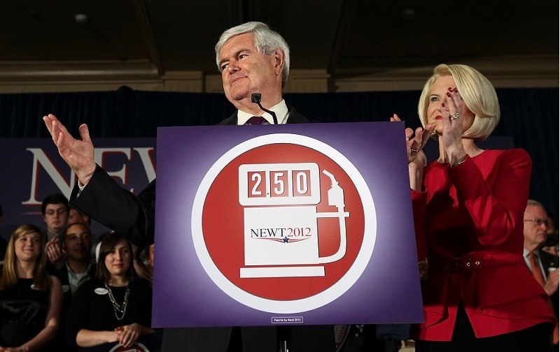 Former Speaker of the House Newt Gingrich speaks at an election night party with his third wife Callista.