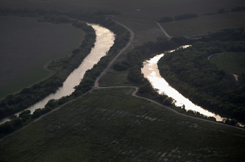 The Rio Grande snakes between Mexico and the United States