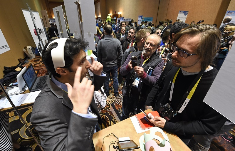 A man debuts his brain training memory device at CES
