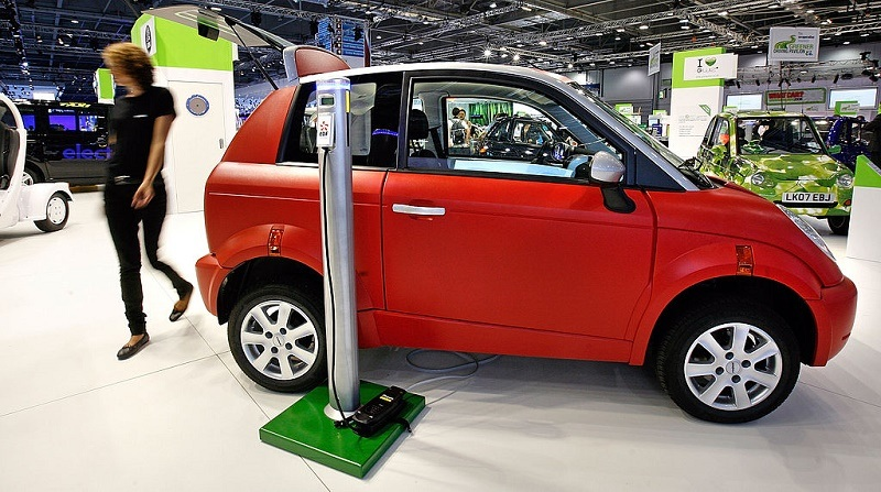 The THINK City electric, zero emissions, zero CO2, silent car on display at the International Motor Show on July 22, 2008 in London, England. Think City is not a quadricycle, but a 95 percent recyclable vehice and is on show at the 2008 British International Motor Show which runs from July 23 to August 3 at the Excel Centre.