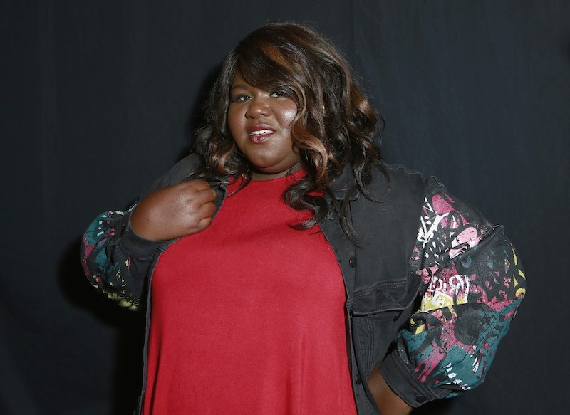 Gabourey Sidibe poses backstage for the ADDITION ELLE NYFW September 2017