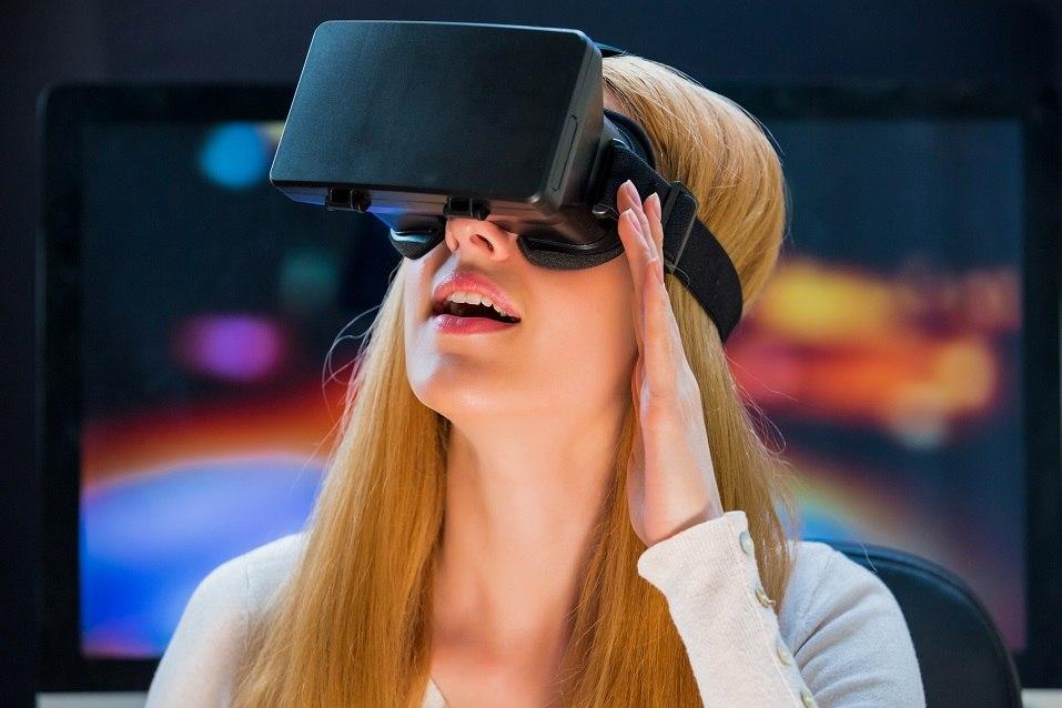 Girl using VR headset