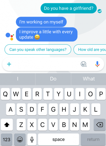 Asking Google Assistant 'Do you have a girlfriend?', a question that Google Now probably wouldn't have a good answer for