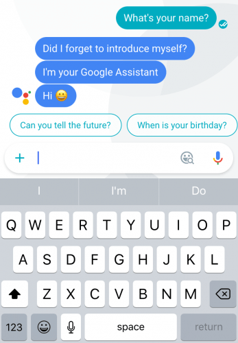 Asking Google Assistant, the successor of sorts to Google Now, 'What's your name?' via Google Allo for iOS