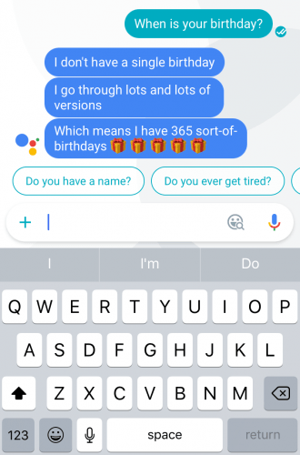 """Asking Google Assistant, the voice assistant in Google Allo, """"When is your birthday?"""""""