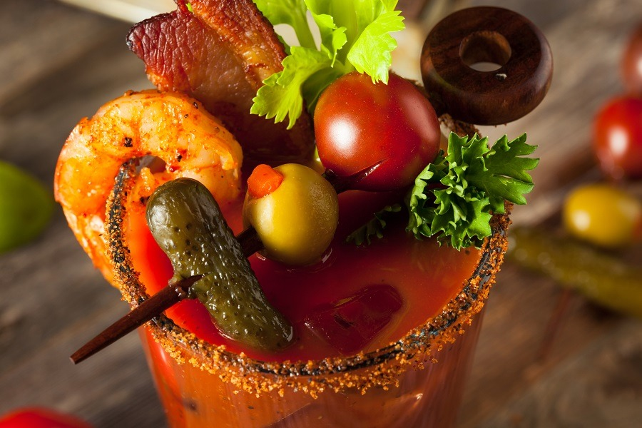 Bacon Spicy Vodka Bloody Mary with Tomatoes