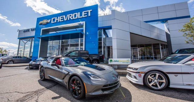 A group of performance Chevrolet products on display at a local car dealership