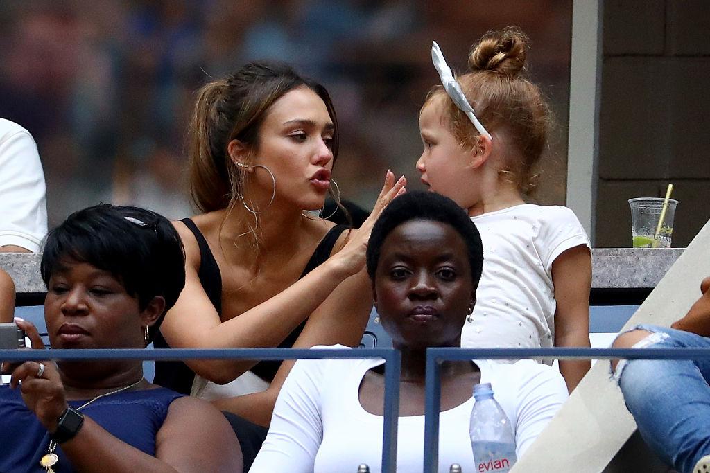 Actress Jessica Alba, sits with her daughters Haven Garner