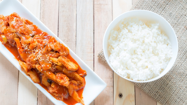 pork with kimchi and rice