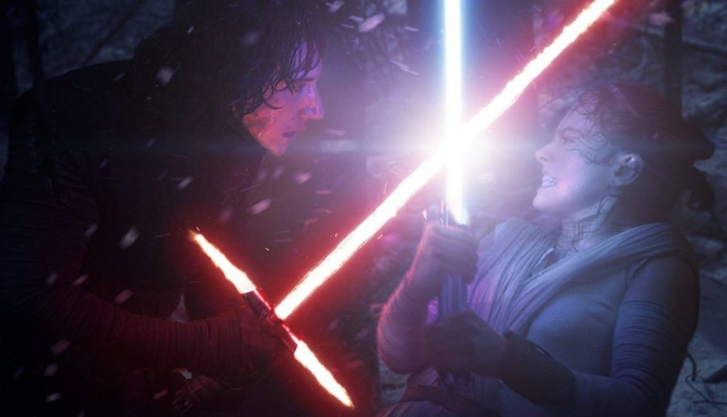 Kylo Ren and Rey battling in The Force Awakens