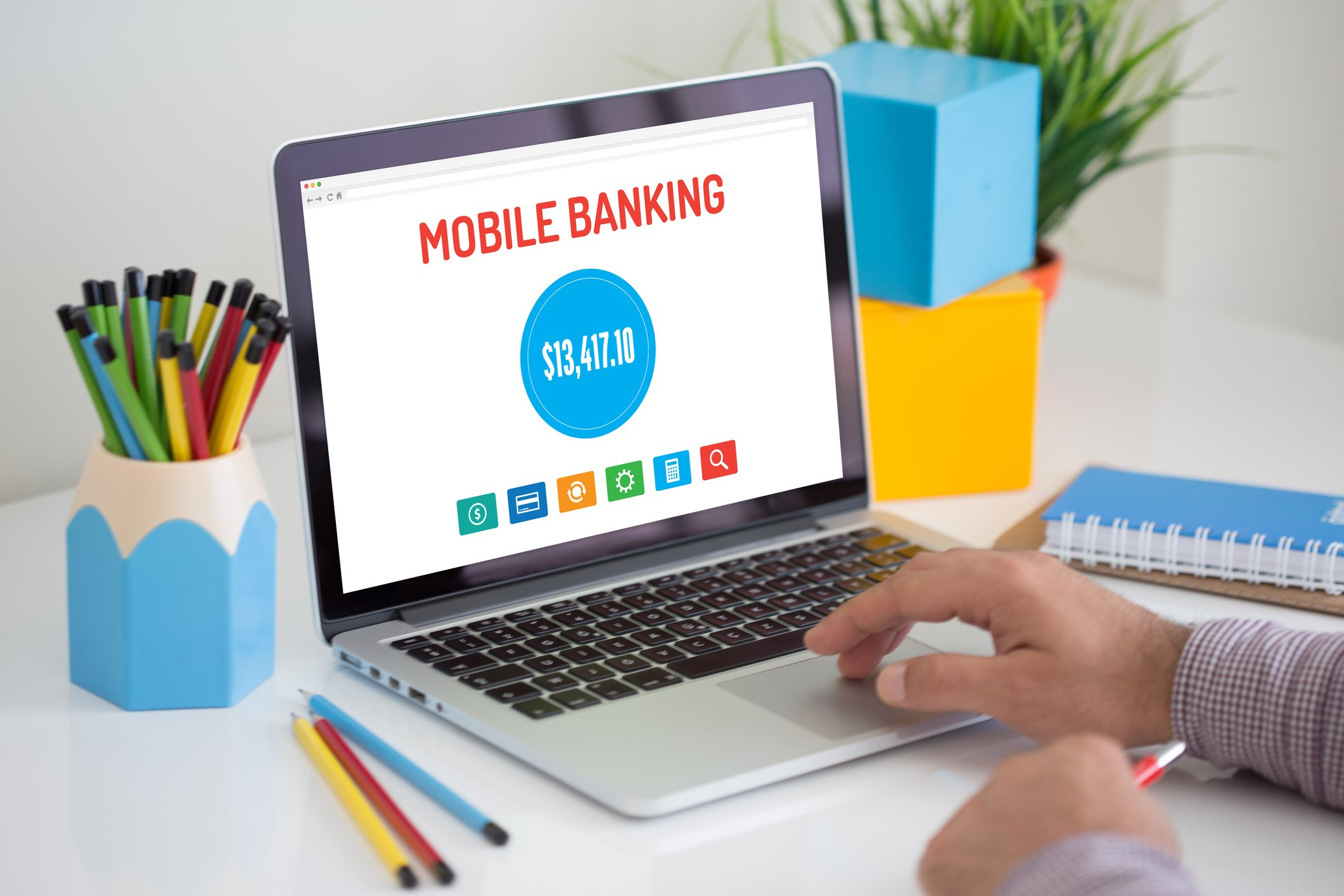 Laptop with mobile banking application