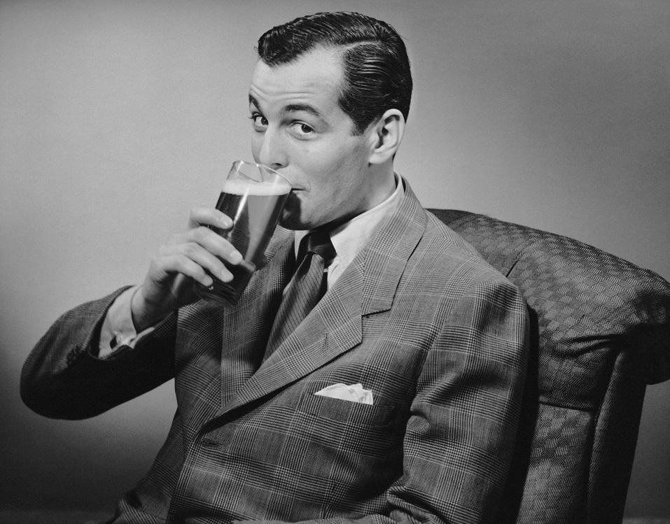 Man drinking beer