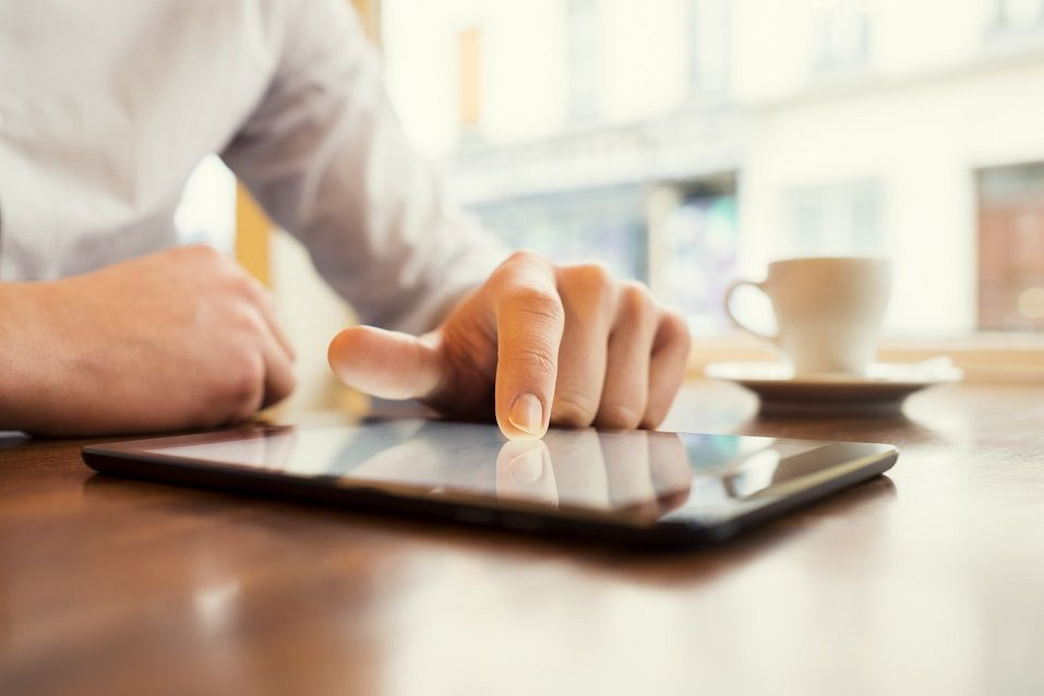 Business man with digital tablet