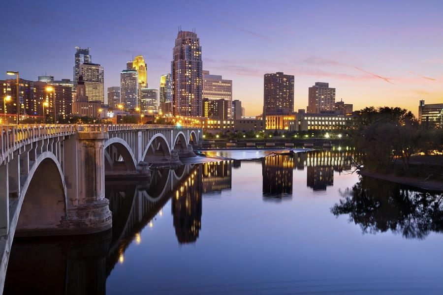 Minneapolis downtown skyline at sunset