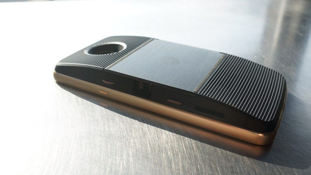 Projector attached to the back of the Moto Z