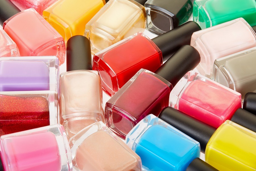 Nail polish colorful bottles