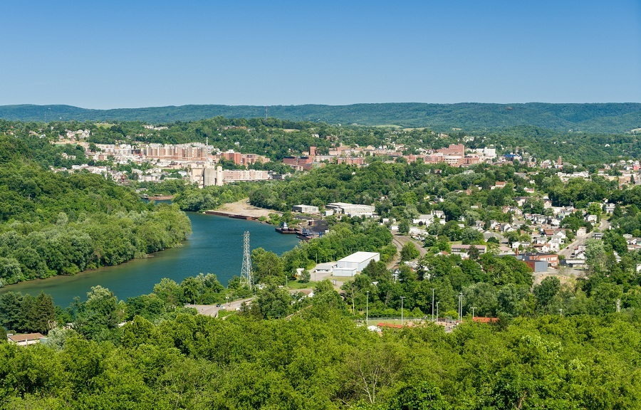 downtown area of Morgantown WV and campus of West Virginia University
