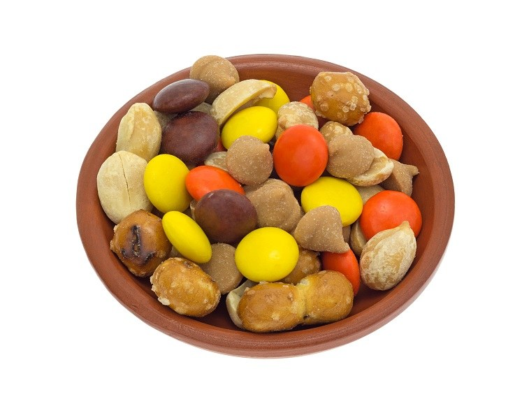 Peanut butter chips with peanuts, candy and pretzel pieces