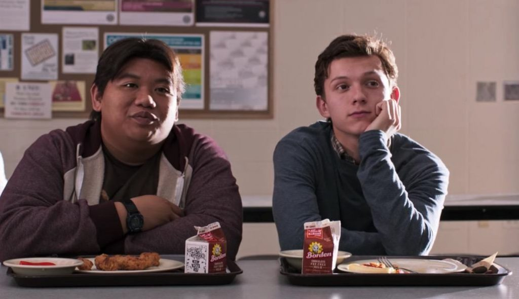 Peter Parker and his friend gaze longingly at his crush in a cafeteria