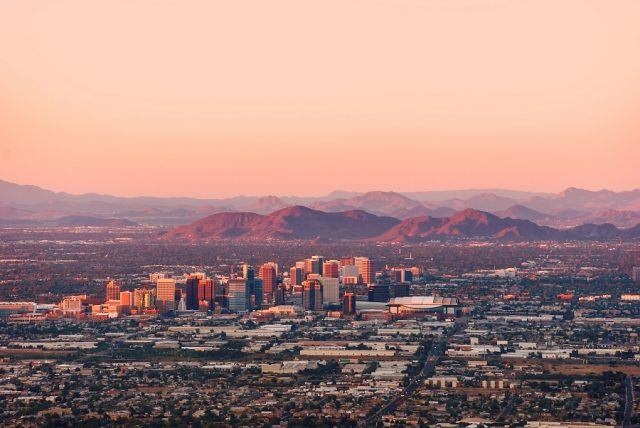 Phoenix, Arizona, with its downtown lit