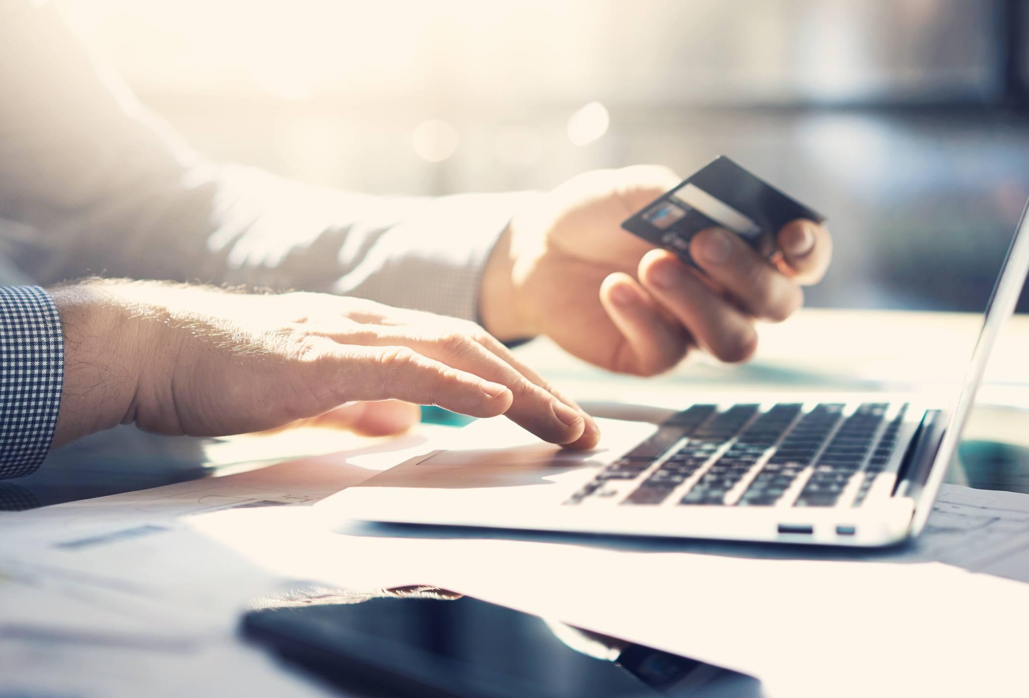 Man making an online payment