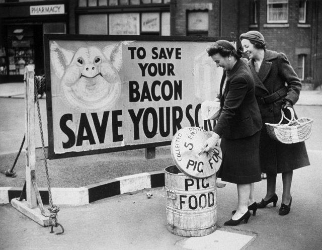 women add pig scraps for bacon in England