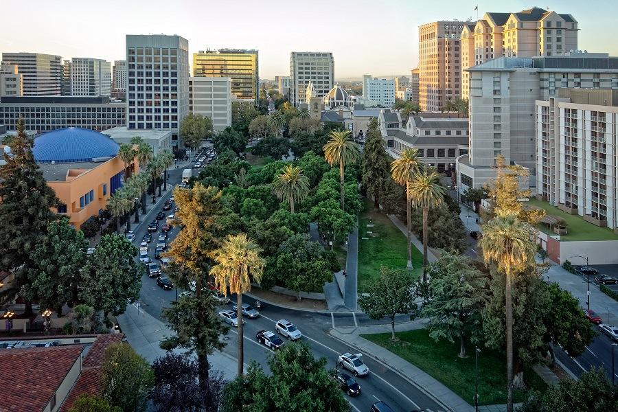 view of the historic Plaza de Cesar Chavez in San Jose, CA.