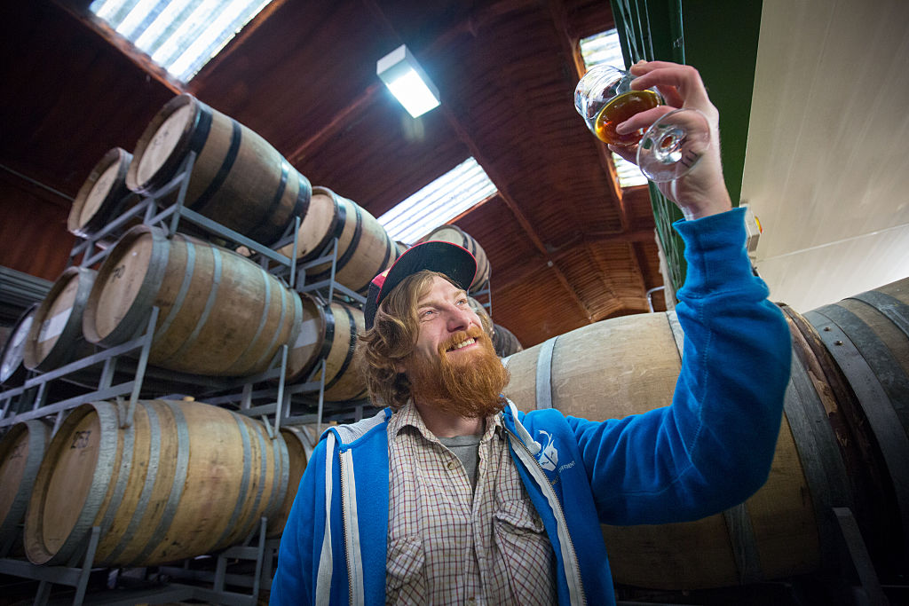 A man checks the quality of beer which is stored in barrels