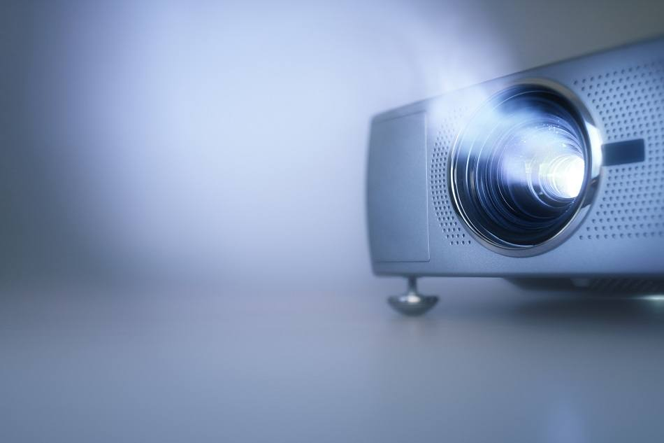 LCD video projector at business conference