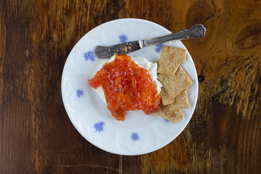 Red Hot Pepper Jelly on Plate