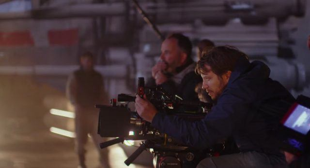 Gareth Edwards directing Rogue One from behind the camera.